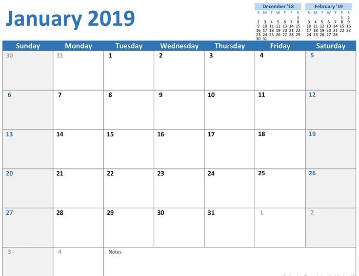Editable January 2019 Calendar #JanuaryCalendar #January2019Calendar