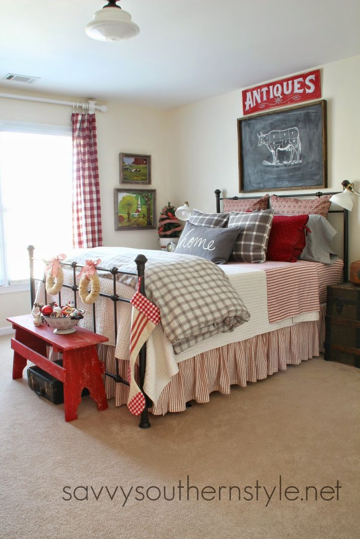 Bedroom color ideas grey and red - Savvy Southern Style Farmhouse Guest Room Christmas