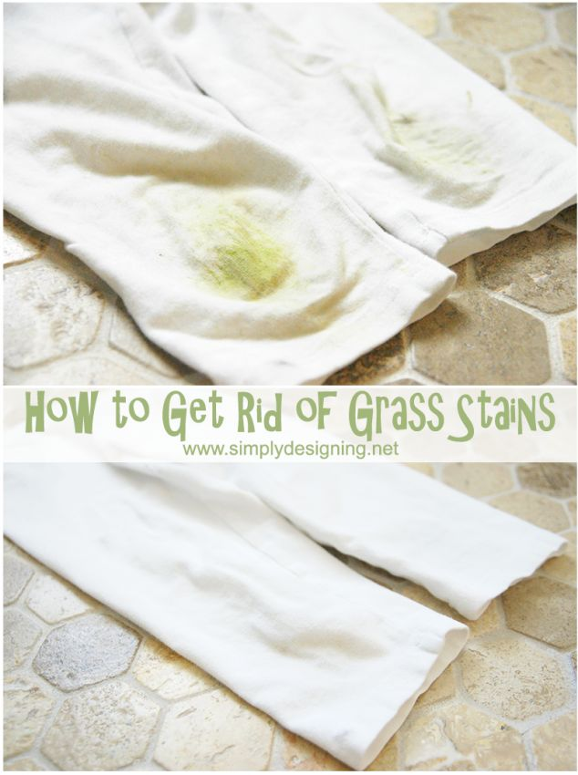 See my simple trick for how to get rid of grass stains! I took grass stained white capris and turned them white again - easily