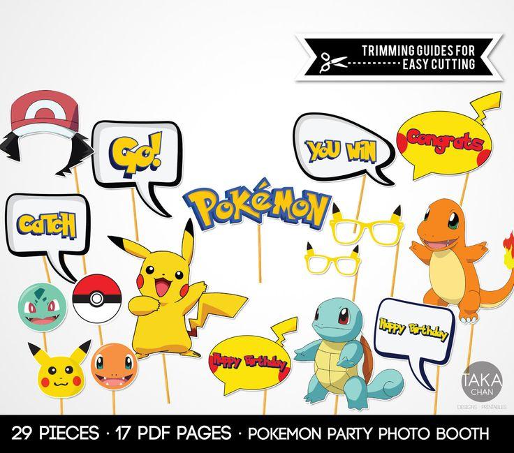 Pokemon Photo Booth Props Pokemon Party Pops Pokemon Photo