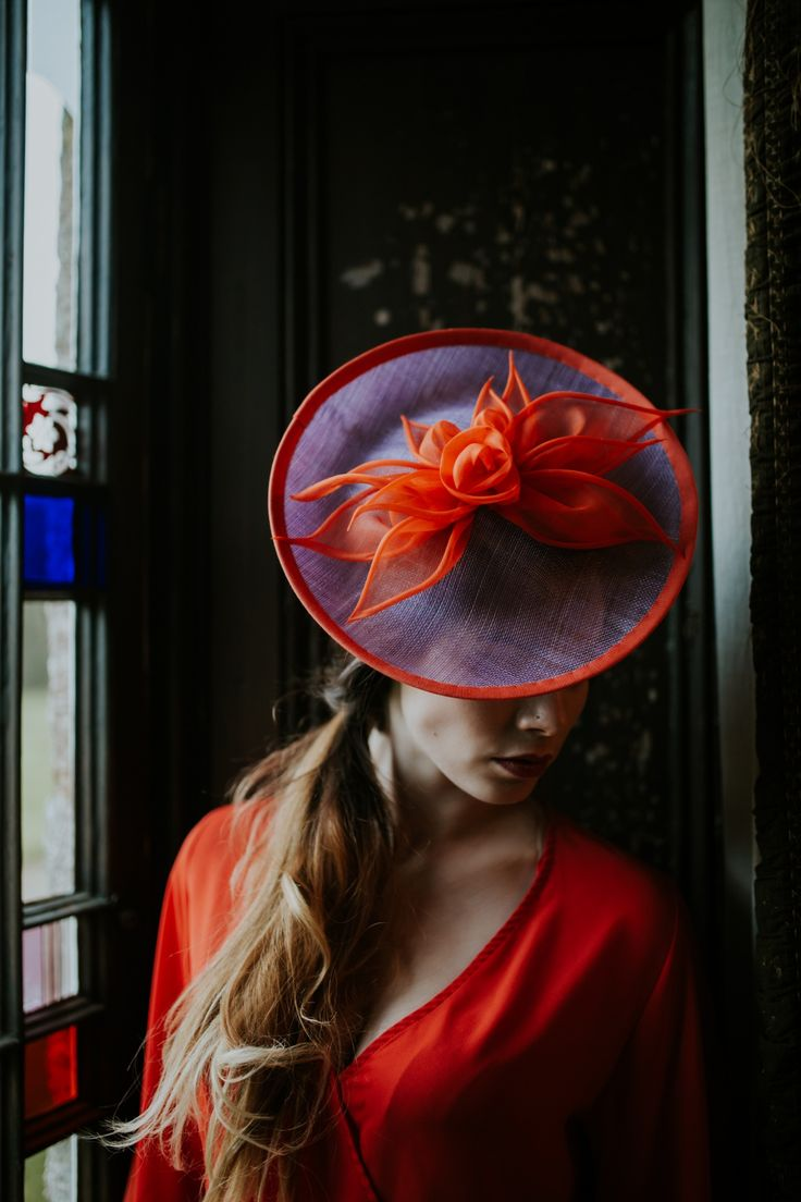 'Fire lily' occasion wear hat #Orange #purple #lilac #hats #ascot #wedding #races #womens #accessories #madeinuk #millinery #goldcup #derby #vintage #fabrics