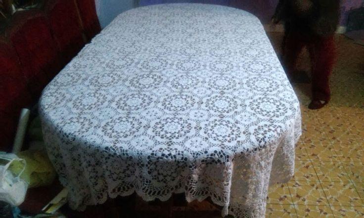 Mantel Blanco Forma rectangular tejido a mano