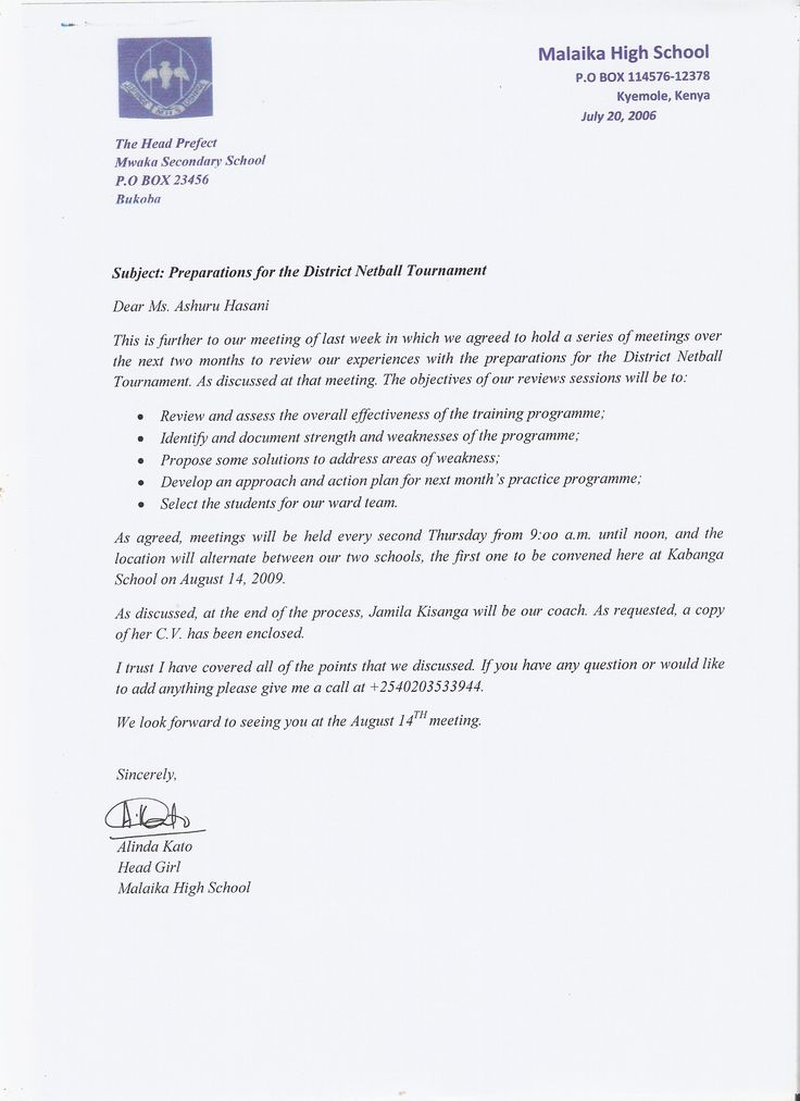Sample Letter to Official