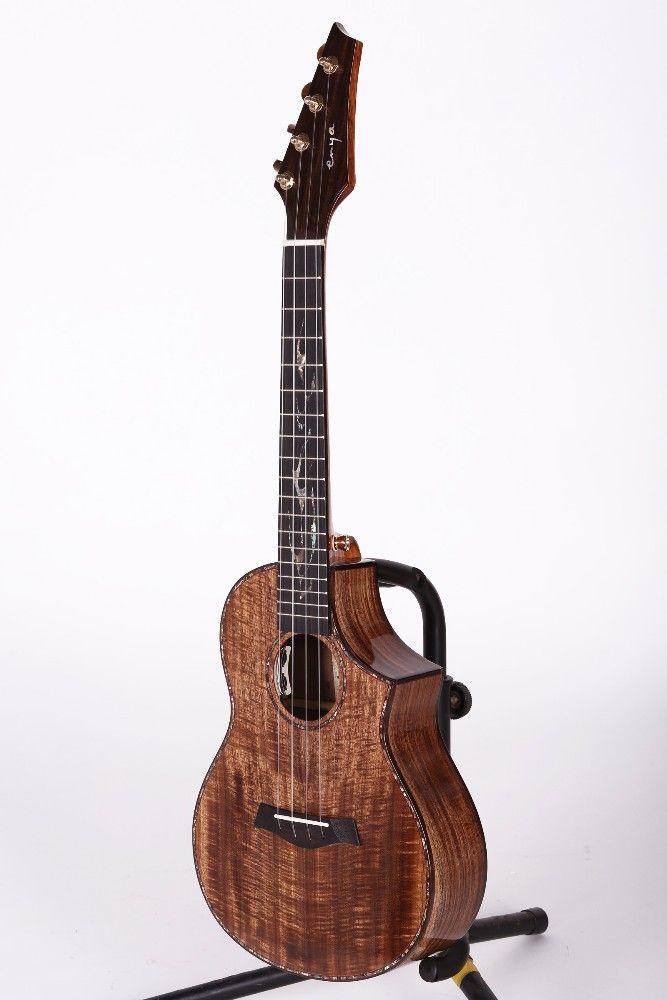 Enya EUT-K6 full-solid stand bass wholesale china baritone engraving chard ukulele