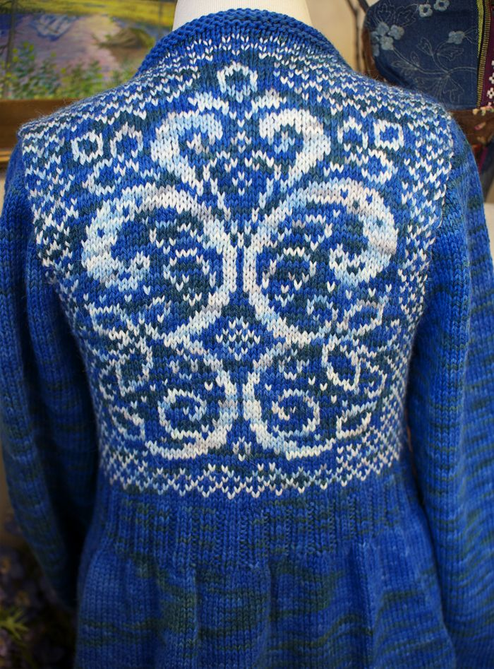 This was designed and knit by Terri Stavig from Cordova, Alaska who will be one of the instructors at the Net Loft Fiber & Friends 2014. Knit with Net Loft Cordova Colorways Port Nellie Juan and College Fjords in Elenya Alpaca.
