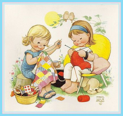 Happy Crafters    Illustration from a Mabel Lucie Attwell calender