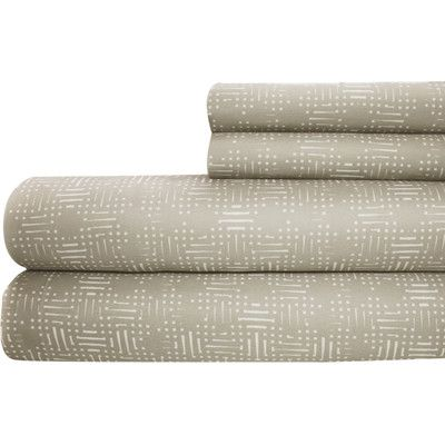 Amrapur Printed Sheet Set Size: Twin, Color: Taupe