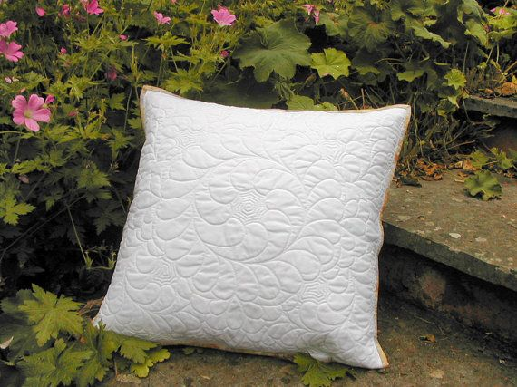 White quilted cushion cover whole cloth quilt by SlaneyHandCraft