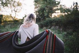 Woman, Back, Blanket, Walking, Outdoors