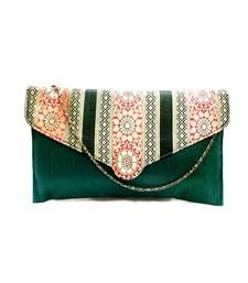 Buy Raw Silk Clutch with Multicoloured Traditional Design Flap (Green) clutch online