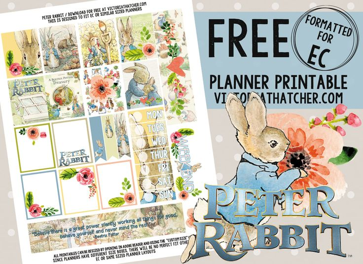 Free Printable Peter Rabbit Planner Stickers from Victoria Thatcher
