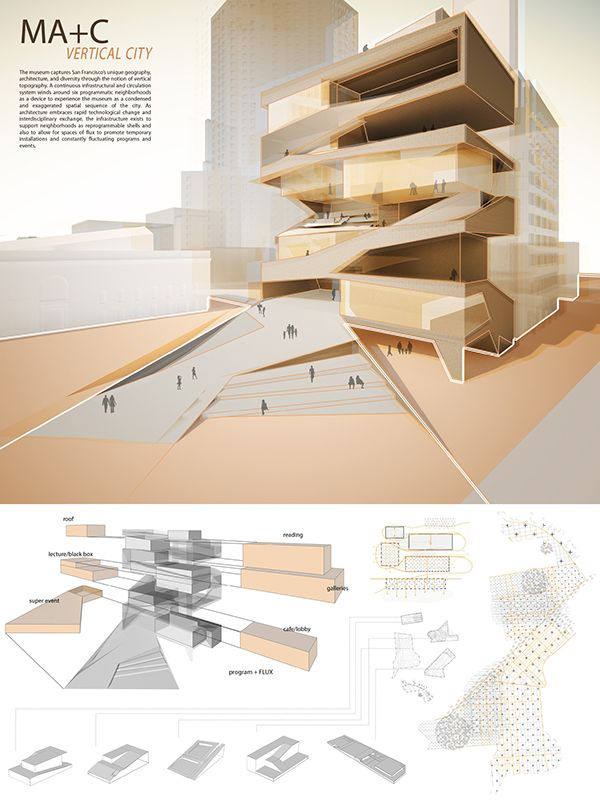 MARCH Studio 2, Spring 2011The Museum of Architecture and the City captures San Francisco's unique geography, neighborhoods, and architecture through the notion of vertical topography. A continuous infrastructural and circulation system winds around six…