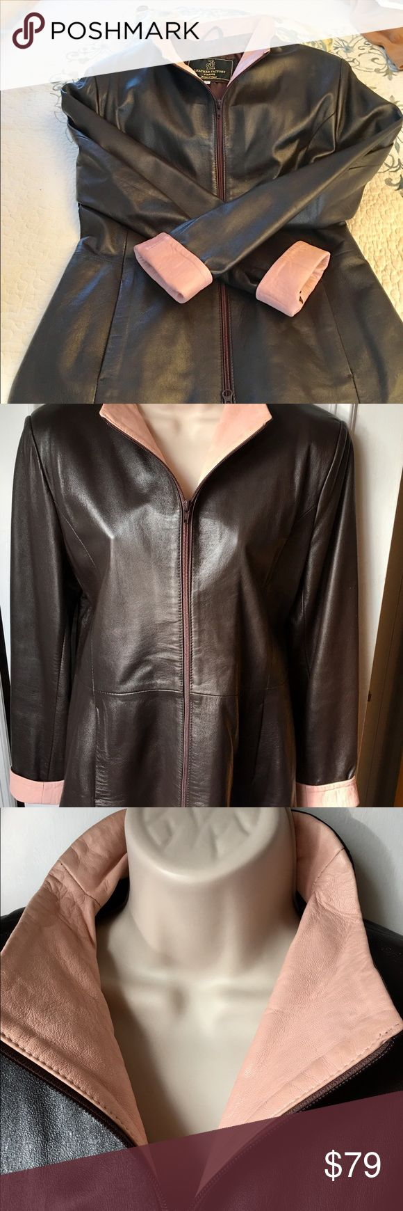 """Italian Leather 2 tone LEATHER jacket- gorgeous 🎉 Gorgeous and timeless! Bought in Florence and not worn more than 3 to 4 times. No flaws- no ripe/ tears. Just stored and forgotten! Time for a nice new home! Colors are brown and baby pink. Measurements are: shoulder = 17"""", armpit to armpit = 19"""", sleeves folded=23. 1/2"""" and length = 27"""". Willing to trade for a comparable value. Smoke free home. Jackets & Coats"""