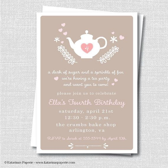Girls Afternoon Tea Party Invitation  Tea by KatarinasPaperie, $13.50