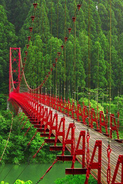 Red Bridge, Japan. ♒ www.pinterest.com/WhoLoves/Beautiful-Buildings ♒  #Architecture