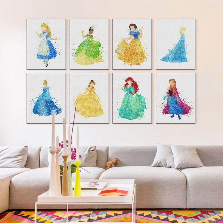 Watercolor Princess Cinderella Cartoon Movie A4 Poster Girl Room Deco Art Canvas