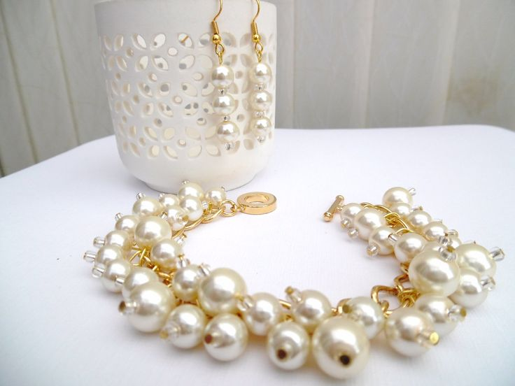 Ivory Pearl Beaded Bracelet and Earrings Set, Bridal Jewelry, Wedding Jewelry, Pearl Bridesmaid Bracelet, Cluster Bracelet, Ivory Pearls by KIMMSMITH on Etsy
