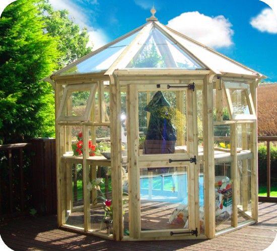 Greenhouses wooden greenhouses garden pinterest for Octagonal greenhouse plans