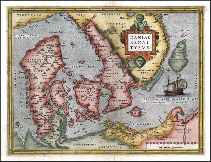 Daniaeregnitypvs - History of Denmark - Wikipedia:  Abraham Ortelius's 1570 map of Denmark including parts on the Scandinavian peninsula.