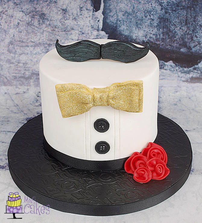 Glitter, roses and...moustache! - Cake by M&G Cakes
