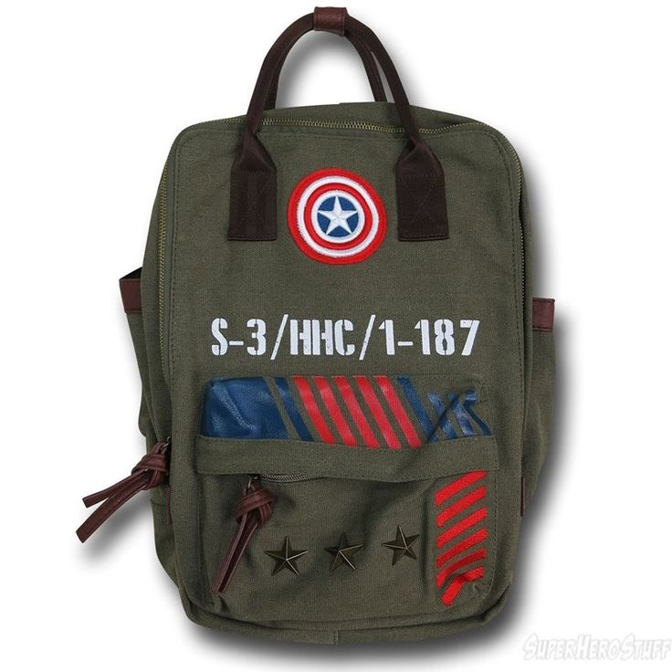 Captain America Military Green Canvas Backpack