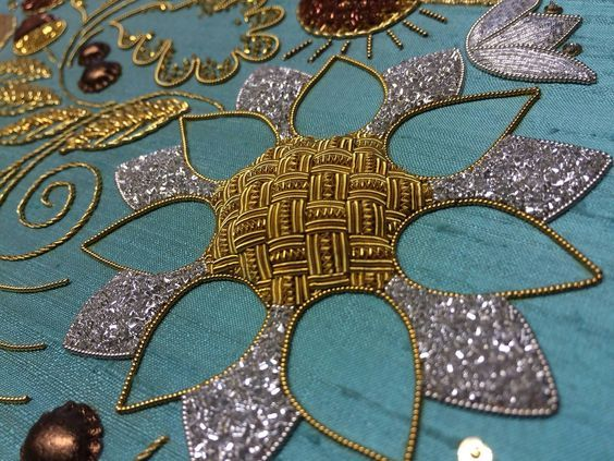 Advanced Goldwork by Diploma Graduate Susan Cameron, #RSNBristol on display at our Certificate & Diploma Summer Exhibition at Hampton Court Palace until 10 July. Royal School of Needlework.: