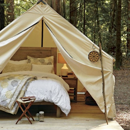 luxe tent camping - I'd take this over a hotel!