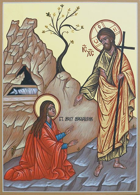 "July 22nd - Feast Day of St. Mary Magdalene    From the link: ""This icon depicts Christ's appearance to Mary Magdalene outside the tomb after His resurrection from the dead.    by the hand of Deacon Matthew Garrett  6"" x 8""  holy-icons.com"""