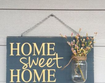 Looking to wow your Mother this Mother's Day?!   You can with this ADORABLE rustic home decor wood sign, welcome all guests with this handmade sign with custom unique details. Perfect for the front porch or the backyard. #home #decor #farmhouse #rustic #woodsign #sign #gifthome sweet home sign spring decorations blue, wood sign spring decorations distressed, rustic home decor flower vase yellow, outdoor signs