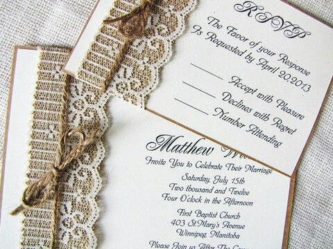 rustic wedding invitation burlap and lace by rusticdesignsbyeva