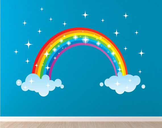 Studio Wall Stickers wall decals are made with a new ultra-premium polyester-fabric matte decal material that can be reused, repositioned and reused again and again .... and again. Just peel and stick! They are child friendly, eco-friendly and extremely thin. The colors are brilliant and the decals look like they are painted on the wall. Rainbow 48w x 25h OR 60 x 30 high ________________________________________________________ > Need it smaller or larger to fit your space? Just contact us…