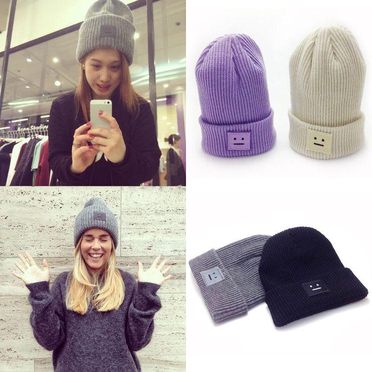 2016 Новая Мода Повседневная Симпатичные Шляпы Фиолетовый и Зеленый Улыбка Шерстяные Женщин Шляпы и Шапки На Зиму Chapeus купить на AliExpress
