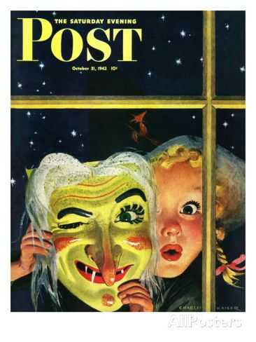 """""""Witch's Mask,"""" Saturday Evening Post Cover, October 31, 1942 Giclee Print by Charles Kaiser at AllPosters.com"""