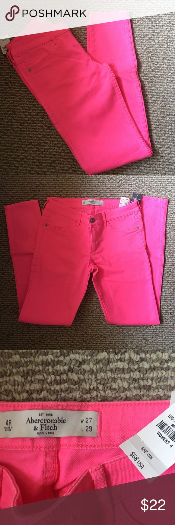 Hot pink  Abercrombie jeans Hot pink Abercrombie jeans. W- 27 L- 29 Jeans have a little stretch to them. NWT Abercrombie & Fitch Jeans Skinny
