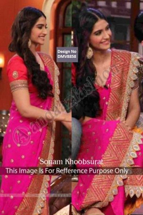 Sonam Kapoor Pink Georgette Saree With Blouse price: $104.50 Pink, georgette saree with blouse. Embellished with embroidered. Saree comes with v neck blouse. Product are available in 34,36,38,40 sizes. It is perfect for casual wear, festival wear, wedding wear and party wear. Blouse Fabric :Raw Silk http://www.andaazfashion.com/womens/sarees/pink-georgette-saree-with-blouse-dmv8858.html
