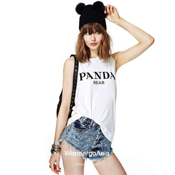 Find More Information about Panda bear letter print sleeveless  T shirt crew neck white slim tank top vest,High Quality vest top,China vest apparel Suppliers, Cheap vest dog from wondergoasia on Aliexpress.com
