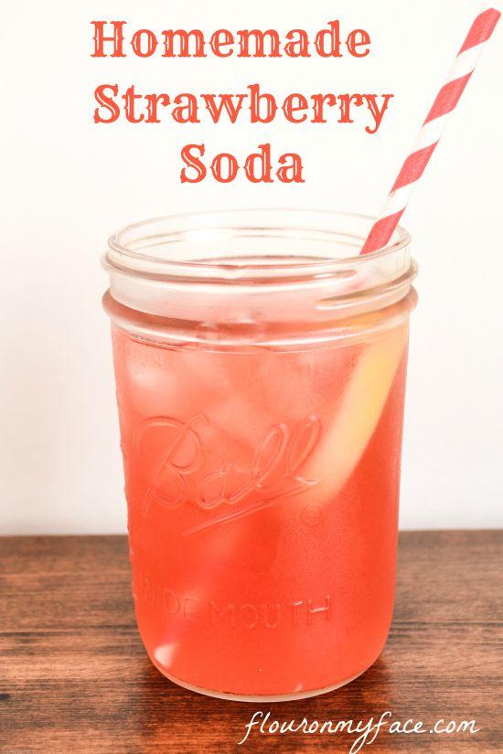 Sweet and refreshing easy homemade Strawberry Soda at home via @Arlene Russell Russell @Arlene Russell @Arlene @FlourOnMyFace.com.com.com