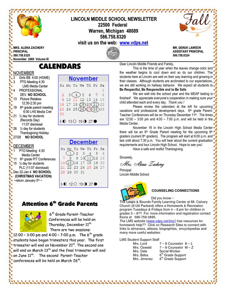 school newsletter templates | LINCOLN MIDDLE SCHOOL NEWSLETTER Federal Warren Michigan visit us