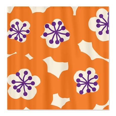 Mari Mek Flower Orange Shower Curtain