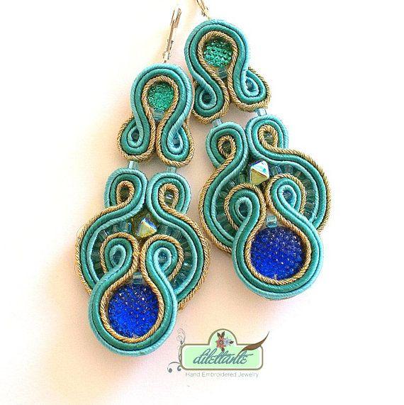 Long Dangle Soutache Earrings- Beaded Earrings- Gold Turqouise Earrings- Bridal Earrings