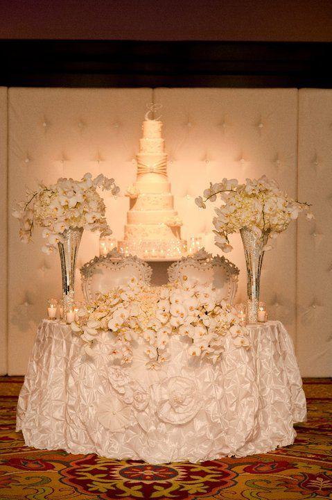 White Lush Sweetheart Table With Cake Pedestal Wedding