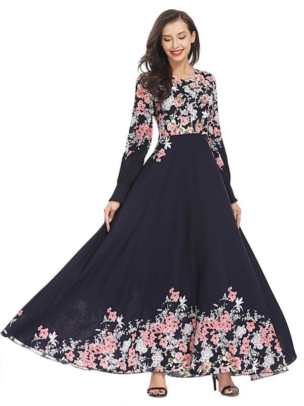 3601a8ec58 Flower Print Longline Dress -SheIn(Sheinside)   Willow's Style ...
