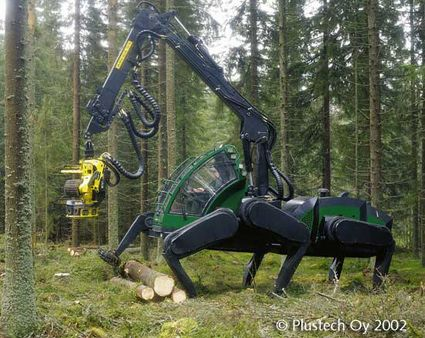 The Finnish subsidiary of the mighty JD, Plustech, adapts automagically to the forest floor terrain by making what we can only imagine as deft usage of its six articulated legs. Forward, sideways, diagonal — whatever it takes