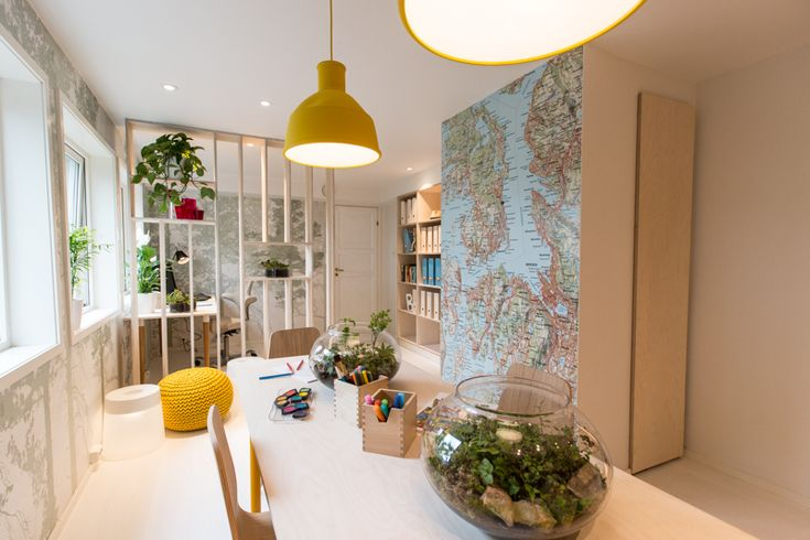 Using Biophilic Design principles in the home - glimpses of greenery and views out to nature - Interior design work by Oliver Heath Design for TV2's Tid for Hjem in Norway Photograph by Jan Inge Mevold Skogheim