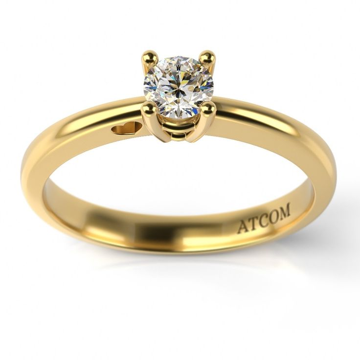 Inel de logodna din aur galben cu diamant model Abraham