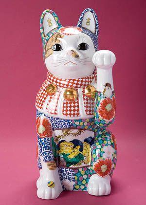 Maneki Neko Blue Kimono Lucky Cat Statue