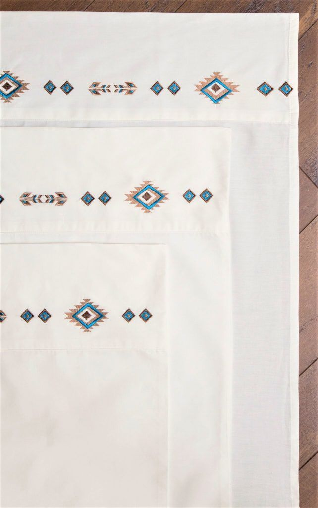 Southwestern Sheets w/ Embroidered Diamonds