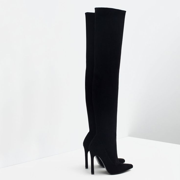 OVER THE KNEE HIGH HEEL LEATHER BOOTS-Boots and ankle boots-Shoes-WOMAN | ZARA United States