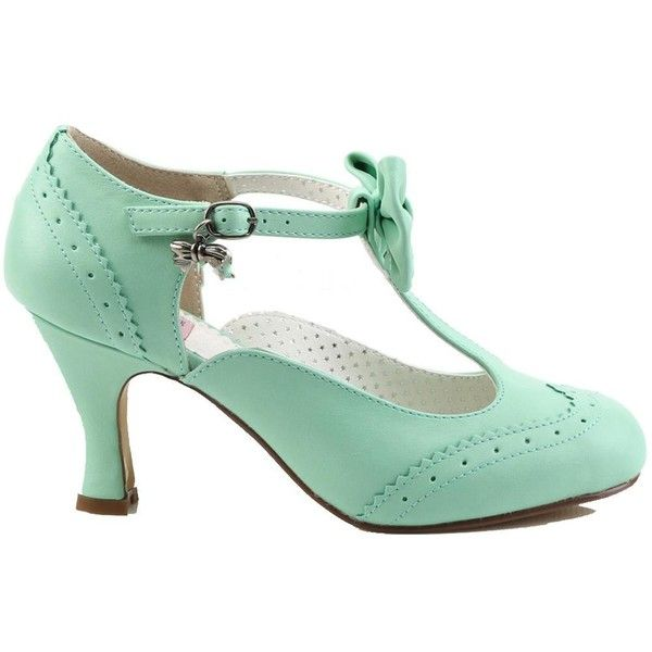 Women's Pin Up Couture Flapper-11 Wing Tip T-Strap Pump Mint ($57) ❤ liked on Polyvore featuring shoes, pumps, mint green pumps, gatsby shoes, t-strap pumps, mint pumps and wing tip shoes