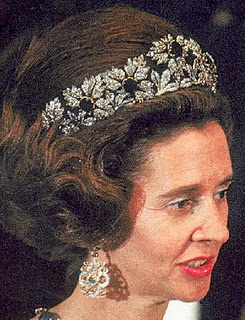 The Spanish Wedding Tiara with emeralds worn in bandeau form by HM Dowger Queen Fabiola of Belgium